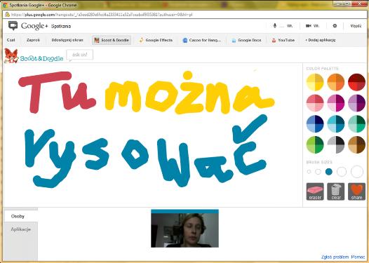 Google Hangouts Scoot and Doodle tu mozna rysowac