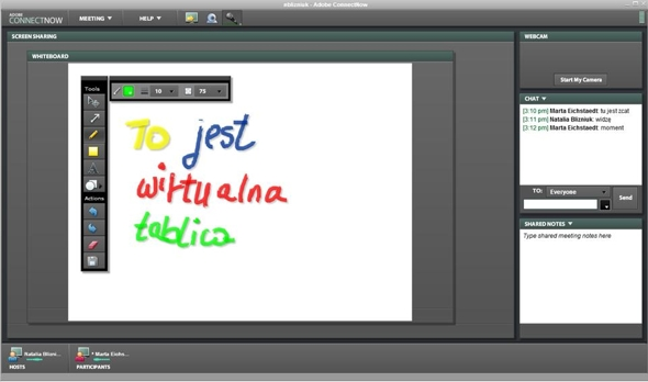 Adobe Connect Now biala tablica