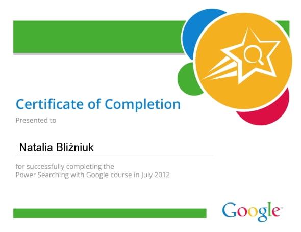 Google certyfikat