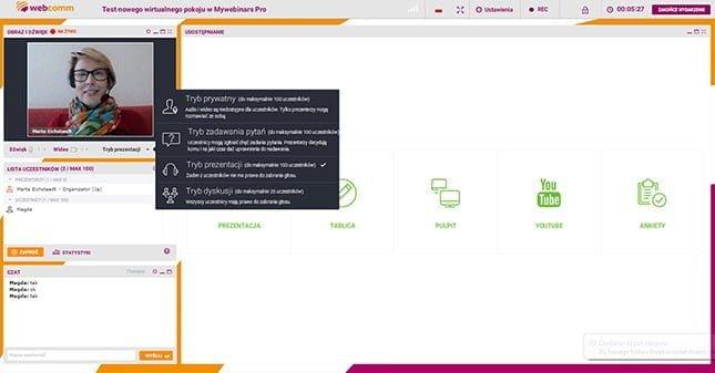 ustawianie trybu dyskusji w ClickMeeting