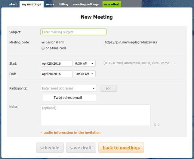 informacje na temat spotkania w Join.me